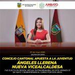 Concejo Cantonal apuesta a la juventud de Ángeles Llerena cono nueva Vicealcaldesa