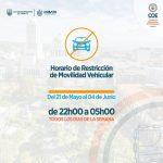 COE Cantonal dispone restricción vehicular de 22:00 a 05:00 desde el 21 de mayo